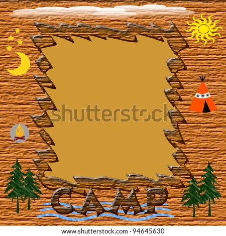 wooden frame with assorted symbols of summer camp illustration - stock photo