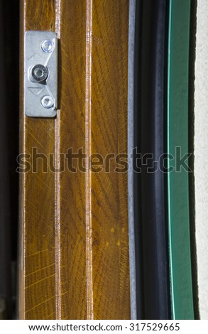 wooden frame with glass windows of the house on a white background, macro - stock photo
