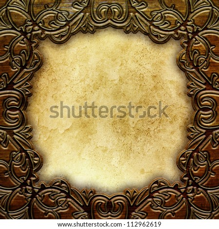 wooden frame with old paper  background - stock photo