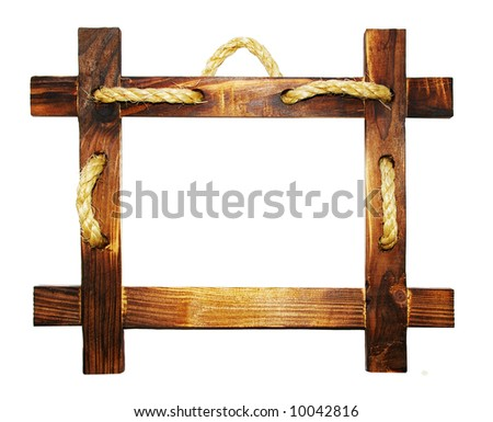 wooden frame with rope - stock photo