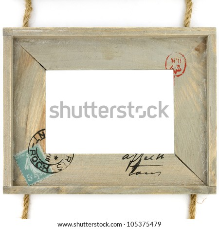 Wooden frame with rope isolated on white