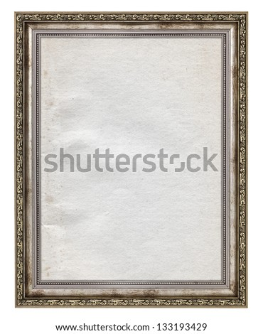 wooden frame with stained paper interior isolated on white - stock photo