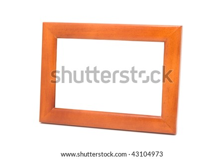 Wooden framework for photos. Isolated on a white background.