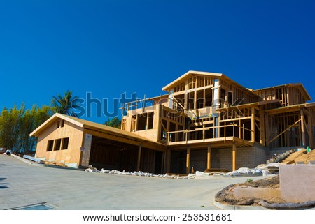 Wooden framing for construction of a new home - stock photo
