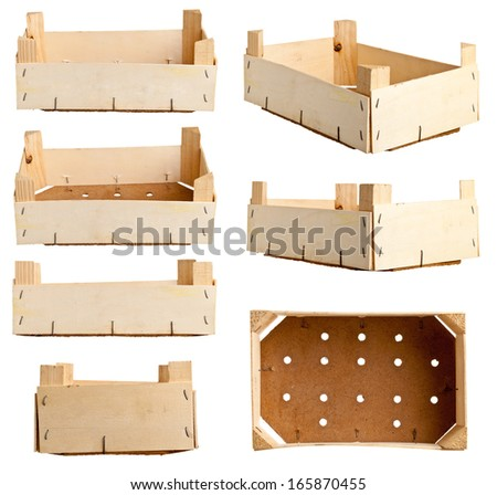 Wooden fruit tray or crate from recycled timber; different variations isolated on white background - stock photo