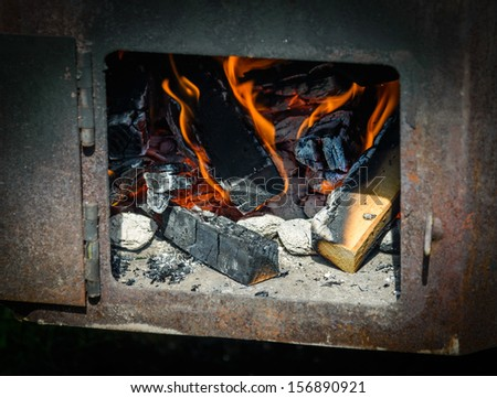 Wooden furnace - stock photo