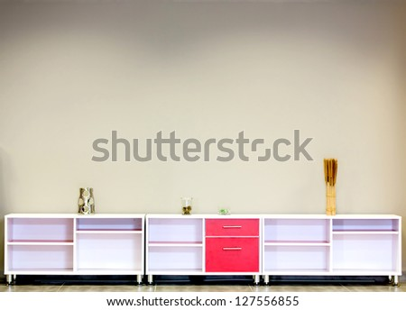 Wooden furniture for storage in the office or home - stock photo