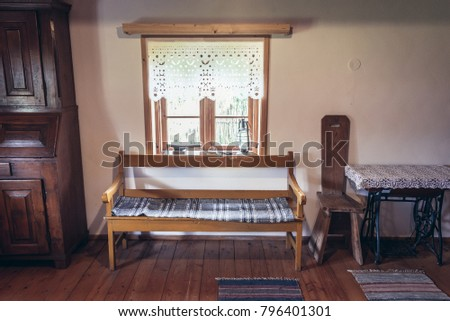 Wooden Furnitures In Traditional Masurian House In Poland