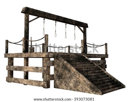 Wooden gallows with four nooses