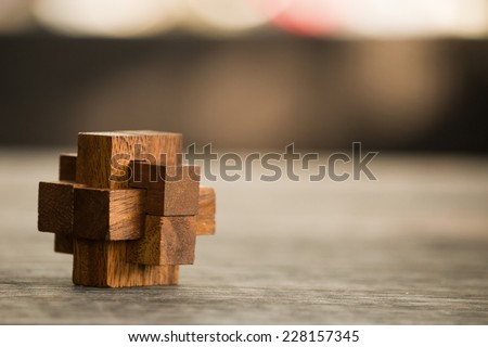 wooden game  block abstract with bokeh - stock photo