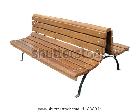 Wooden garden bench isolated on white