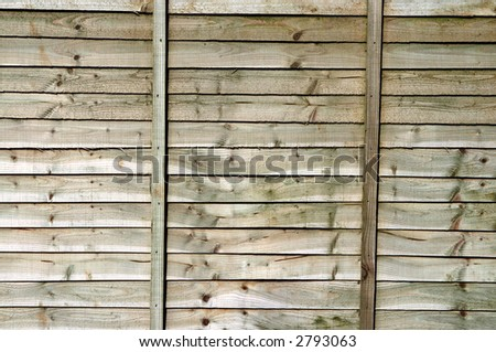 Wooden garden fence close up.