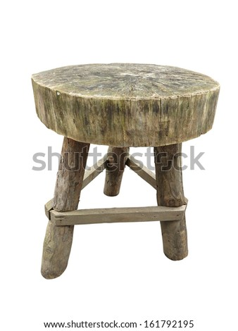 Wooden garden rough handmade table isolated over white background - stock photo