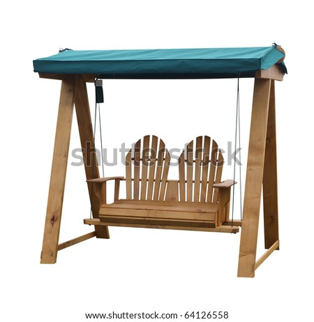 Wooden Garden Swing Seat isolated with clipping path - stock photo