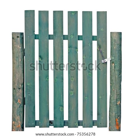 Wooden Gate, Green Weathered Aged, Isolated Garden Fence Entrance old rustic retro vintage picket entry - stock photo