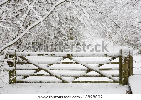 Wooden gate in snow - stock photo