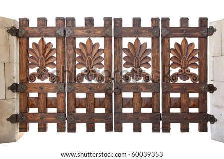 Wooden gate isolated on a white background - stock photo