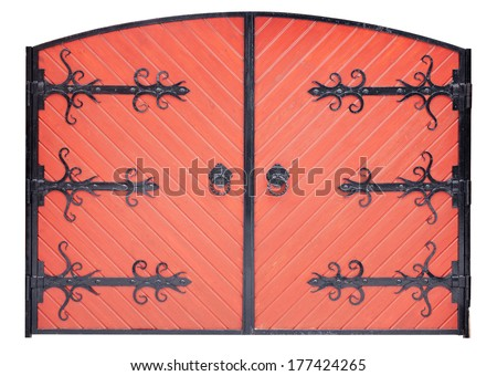 wooden gate with wrought iron elements isolated on white background