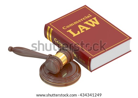 Wooden Gavel and Commercial Law Book, 3D rendering isolated on white background - stock photo