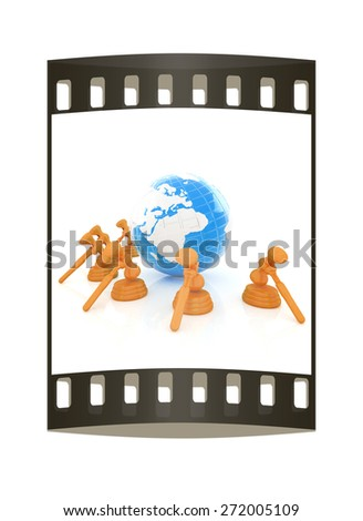 Wooden gavel and earth isolated on white background. Global auction concept. The film strip - stock photo