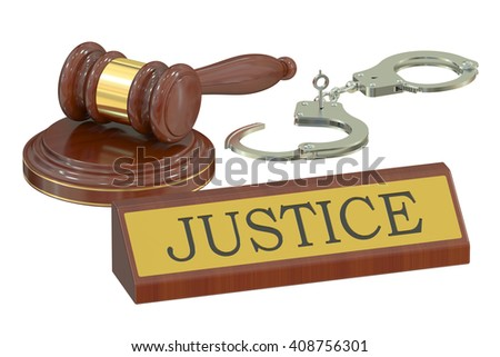 Wooden gavel and handcuffs, justice concept. 3D rendering - stock photo