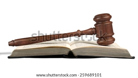 Wooden gavel and law book  - stock photo
