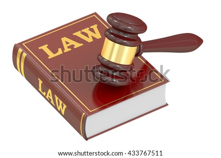 Wooden Gavel and Law Book, 3D rendering isolated on white background - stock photo
