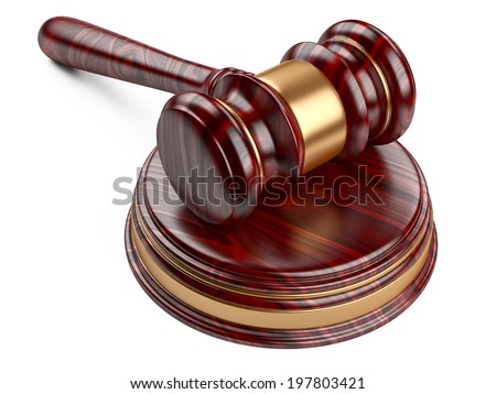 Wooden gavel and soundboard on white background. LAW concept