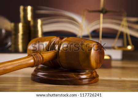 Wooden gavel barrister, justice concept