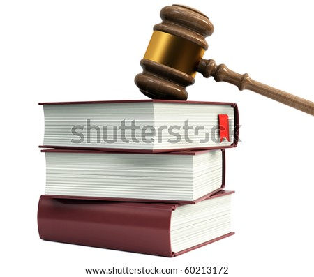 Wooden gavel from the court and law books - stock photo