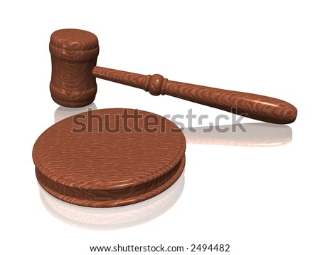 Wooden gavel from the court on white background (see more in my portfolio) - stock photo