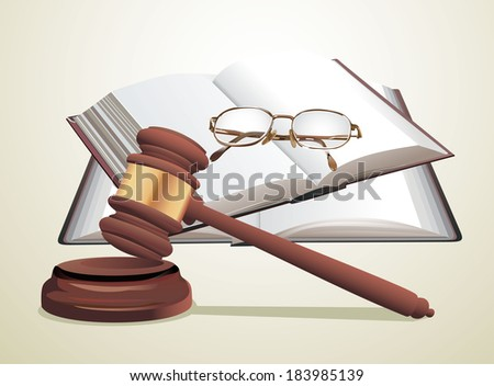 wooden gavel, glasses and books - stock photo