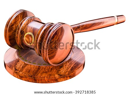 Wooden gavel in court of law - stock photo