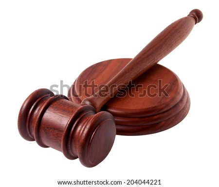 Wooden gavel isolated on a white background - stock photo