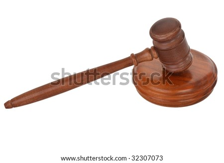 wooden gavel isolated on pure white background