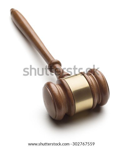 Wooden gavel isolated on white background - stock photo
