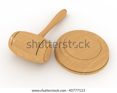 Wooden gavel Isolated on white background (beige)