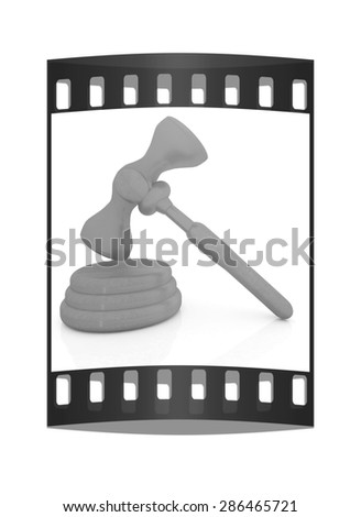 Wooden gavel isolated on white background. The film strip - stock photo