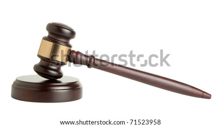 Wooden gavel on white background - stock photo