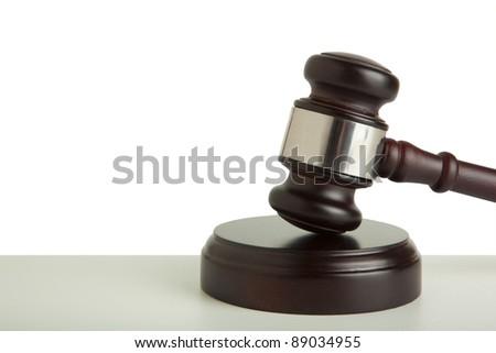 Wooden gavel on white background - stock photo