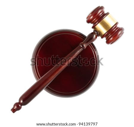 Wooden gavel top view isolated on white background - stock photo