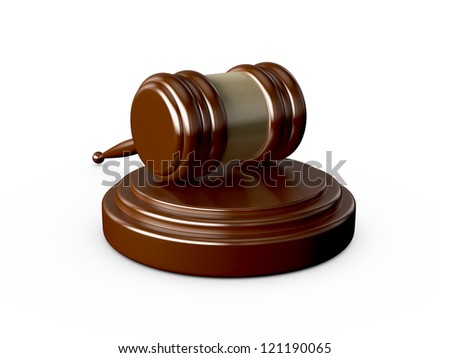 Wooden gavel with blurry reflection, isolated on white background.