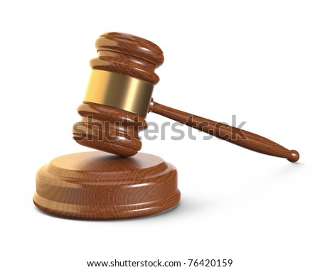 Wooden gavel with brass band resting on block. Isolated on white background with clipping path. - stock photo