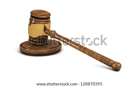 Wooden gavel with brass rim, legal set on white