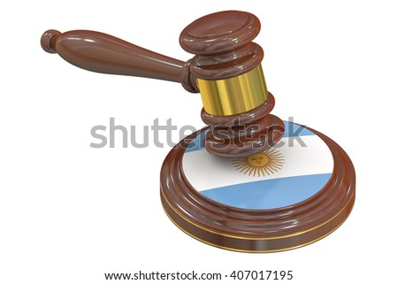 Wooden Gavel with Flag of  Argentina, 3D rendering - stock photo