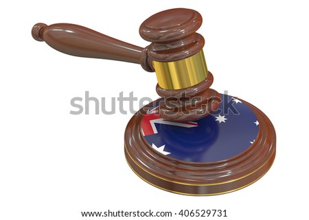 Wooden Gavel with Flag of  Australia, 3D rendering - stock photo