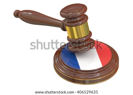 Wooden Gavel with Flag of France, 3D rendering