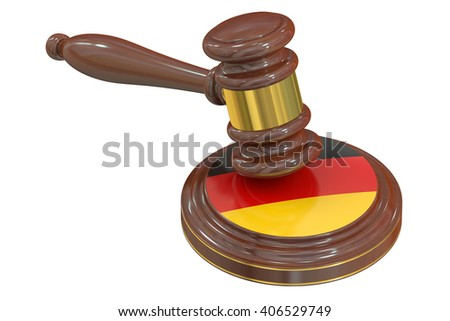 Wooden Gavel with Flag of Germany, 3D rendering - stock photo