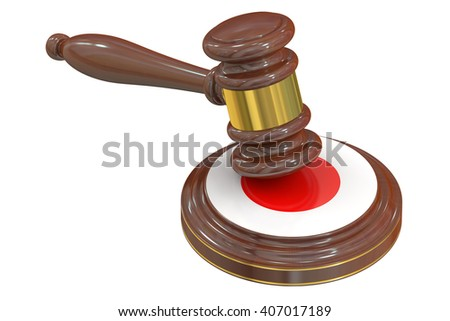 Wooden Gavel with Flag of  Japan, 3D rendering
