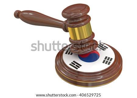 Wooden Gavel with Flag of South Korea, 3D rendering - stock photo